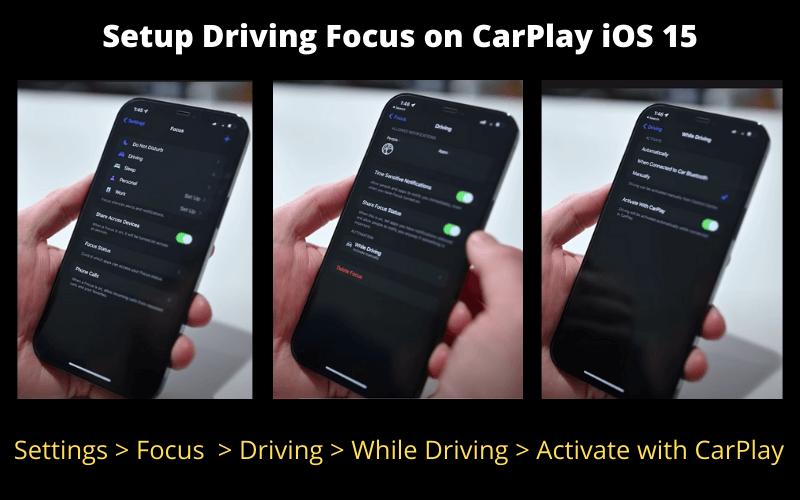 how to setup driving focus on carplay ios 15